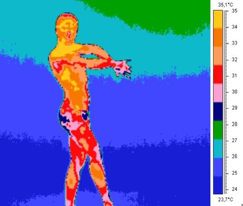 Imagen de termografía de una bailaora de flamenco. Imagen: UGR.