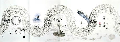 ANTONIO SOSA. Sin título, 1991-2008. 146,2 x 800,02 cm. Acuarela, pintura acrílica, lápiz, y tinta china sobre papel