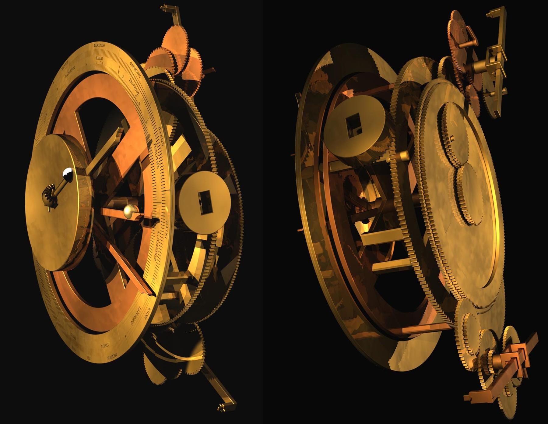 Reconstrucción por ordenador, en vista anterior y posterior, del mecanismo de Anticitera.© 2008 Tony Freeth, Images First Ltd. (Clic para ampliar)