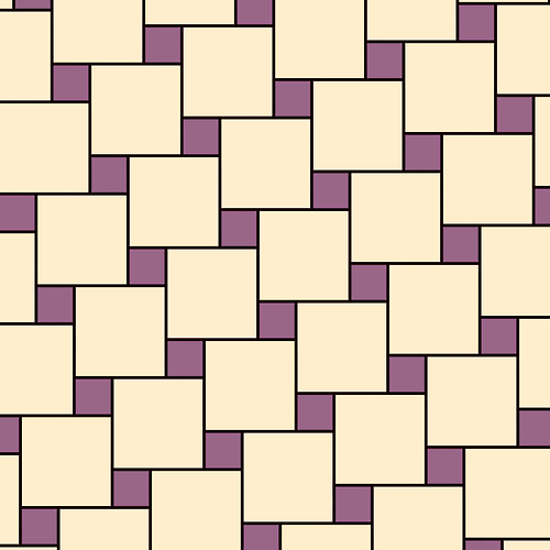 "scienceisbeauty:  A Pythagorean tiling or two squares tessellation is a tessellation of an Euclidean plane by squares of two different sizes, in which each square touches four squares of the other size on its four sides. Because of numerous proofs of the Pythagorean theorem based on such a tiling, it is called a Pythagorean tiling. It also is commonly used as a pattern for floor tiles as in ""Street Musicians at the Doorway of a House"
