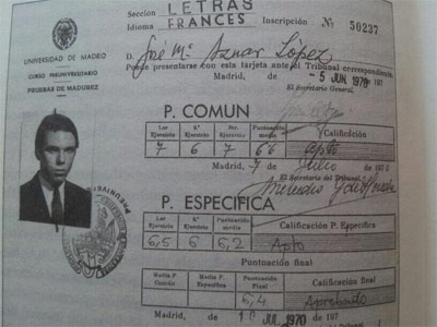 Resultados académicos de José María Aznar en su prueba de acceso a la universidad.