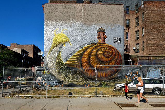 giant snail by Mike Makatron in Williamsburg, NYC