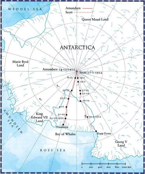 Expediciones al Polo Sur: Amundsen y Scott el 18 de Enero de 1912 Sir Robert Scott llega al polo norte, solo para encontrar que 33 días antes un explorador noruego llamado Roald Amundsen, había llegado y puesto la bandera en el centro del Polo, dando por sentado la derrota británica en un aspecto en el que llevaban ventaja: la exploración, y el polo era el útimo recondito a conquistarse a principios del siglo XX cuando el mundo se estaba comenzando a quedarse pequeño… Enjoy!