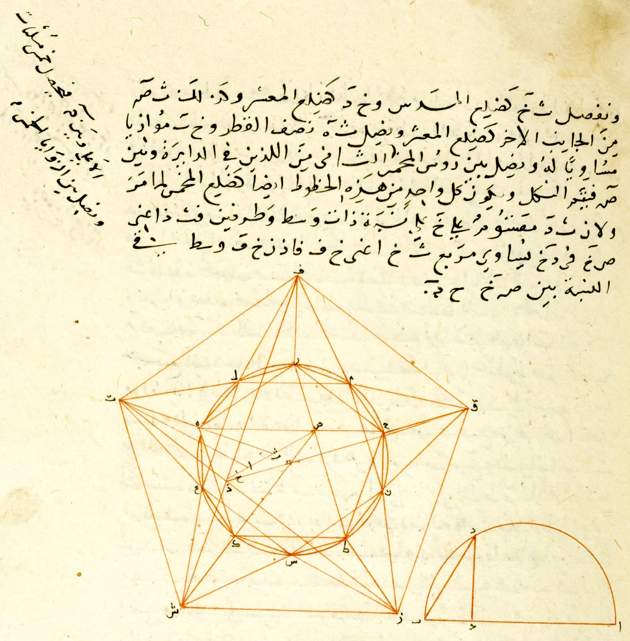 Part of a copy of an edition of Euclid's Elements by the 13th century Persian mathematician Nasīr al-Dīn al-Tūsī.