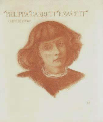Portrait of Philippa Garret Fawcett, (1868-1948) aged 15 years (England)