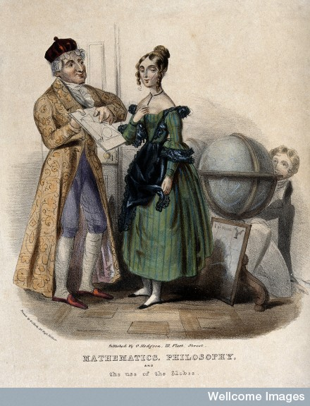A middle-aged man giving a geometry lesson to young woman, a